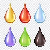 Colored Drops. Splashes Of Paint Liquid Realistic Vector Illustrations Water Drops. Water Liquid Rai poster