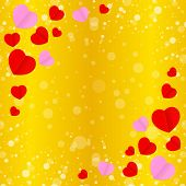 Square Gold Frame And Red Pink Heart Shape For Template Banner Valentines Gold Background, Many Hear poster