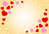 Empty Orange Frame And Red Pink Heart Shape For Template Banner Valentines Card Background, Many Hea poster
