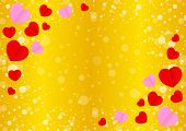 Empty Golden Frame And Red Pink Heart Shape For Template Banner Valentines Gold Background, Many Hea poster