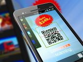 stock photo of barcode  - Macro view of smartphone scanning QR code for shopping - JPG