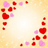 Square Orange Frame And Red Pink Heart Shape For Template Banner Valentines Card Background, Many He poster