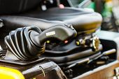 Detailed Close Up Of Gear Stick In Agricultural Machine, Big Vehicle. Inside Of Truck Trailer Detail poster