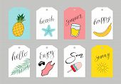 Set Of Summer Labels With Hand Drawn Elements.fresh Healthy Food Tropical Collection, Badges Or Labe poster