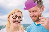 Man With Beard And Woman Having Fun Party. Add Some Fun. Making Funny Photos Birthday Party. Just Fo poster
