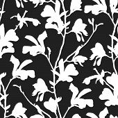 Seamless Pattern With Magnolia Tree Blossom In Black And White. Floral Background With Branch And Ma poster