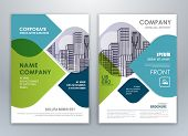 Blue And Green Annual Report Brochure Flyer Design Template. Leaflet Cover Presentation Abstract Bac poster
