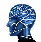 picture of cognitive  - Brain injury and neurological disorder represented by a human head and mind broken in peices to symbolize a severe medical mental trauma and cognitive illness on white background - JPG