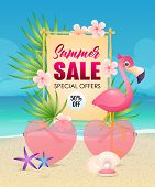 Summer Sale Lettering With Heart Shaped Sunglasses And Flamingo. Tourism, Summer Offer Or Sale Desig poster