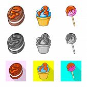 Isolated Object Of Confectionery And Culinary Logo. Collection Of Confectionery And Product Vector I poster