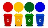 Four Colorful Recycle Bins Isolated On White Background, Bin And Speech Bubbles For Copy Space Templ poster