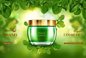Organic Cosmetics Product Jar Mockup On Green Blurred Background Framed With Tree Leaves. Advertisin poster