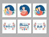Mother And Daughter Hugging. Mothers Day Card About Mothers Love And Care. Flat Illustration. Happy  poster