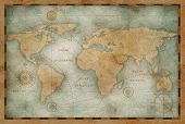 Ancient world map illustration based on image furnished by NASA poster