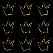 Golden Crowns Vector Pattern In Hand Drawn Style. Gold Metal Color Crown Icons Line Art On Black. Ro poster