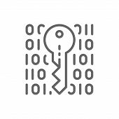 Private Key, Coding, Cryptography, Cyber Security Line Icon. poster