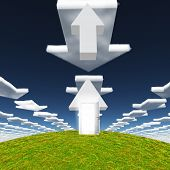 Arrow with open door points toward sky filled with arrows clouds pointing toward horizon. 3D renderi poster