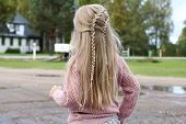 A Little Girl With A Braided Hairstyle. Long Hair With Two Wayerfall Braids. poster
