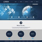 Website Template With World Map And Earth Globe, Global Networks Design Mockup For Your Business Web poster