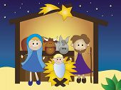 picture of christchild  - a illustration of funny nativity for children - JPG