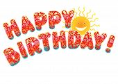 pic of happy birthday  - Ornate letters and smiling cartoon sun isolated on white background - JPG