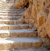 stock photo of masada  - Ancient stone stairs leading up - JPG