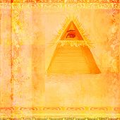 foto of illuminati  - Ancient Pyramid Eye Design on abstract background  - JPG