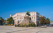 image of hetman  - The Bogdan Khmelnitsky monument at Sofiyska Square in Kyiv Ukraine - JPG