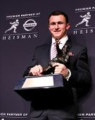 NEW YORK-DEC 8: Texas A&M quarterback Johnny Manziel is the winner of the 2012 Heisman trophy at the