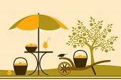 foto of hand-barrow  - vector table with umbrella and hand barrow with basket of apples in apple orchard - JPG