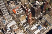 stock photo of voyeur  - New York City Birds Eye View of Downtown Street - JPG