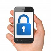 picture of generic  - Hand holding smartphone with closed padlock on display - JPG