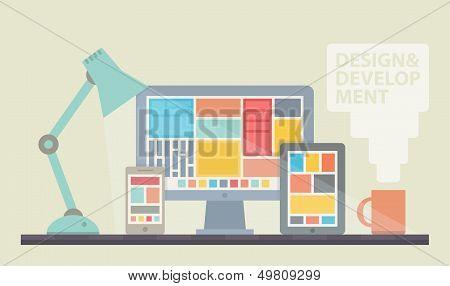 Web Design Development Illustration poster
