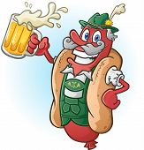 picture of lederhosen  - A hotdog bratwurst cartoon character wearing traditional bavarian lederhosen and drinking a large mug of beer - JPG