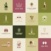 stock photo of grape  - Set of icons for wine - JPG