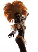one african woman samba dancer  dancing silhouette  on white background