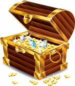 image of treasure  - opened treasure chest with treasures  - JPG