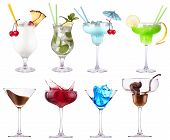 picture of curacao  - alcoholic  cocktails set  - JPG