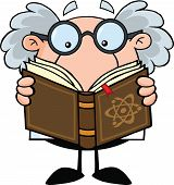 image of physicist  - Funny Scientist Or Professor Reading A Book Cartoon Character - JPG