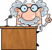 stock photo of physicist  - Smiling Scientist Or Professor Present From Podium - JPG