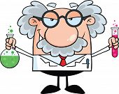 stock photo of scientist  - Mad Scientist Or Professor Holding A Bottle And Flask With Fluids Cartoon Character - JPG