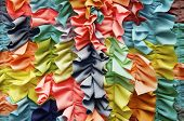 Bright Colorful Ruffled Fabric Background