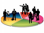 pic of person silhouette  - Business people on the diagram  - JPG