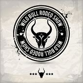 stock photo of bull-riding  - alternative black bull label  - JPG