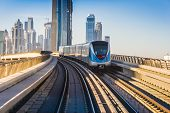 stock photo of passenger train  - DUBAI UAE  - JPG