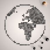 foto of posh  - Old lace posh pattern 3d graphic with posh world symbol made of many spheres - JPG