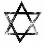 picture of israel israeli jew jewish  - grunge black star of david on a solid white background - JPG