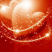 foto of soulmate  - Two hearts surrounded by sparkles on a red background - JPG