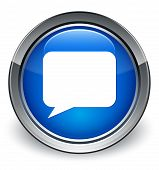 Talk Bubble Icon Glossy Blue Button