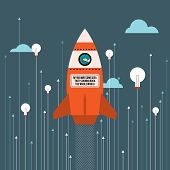 foto of cans  - Vector illustration of big idea business innovation rocket - JPG